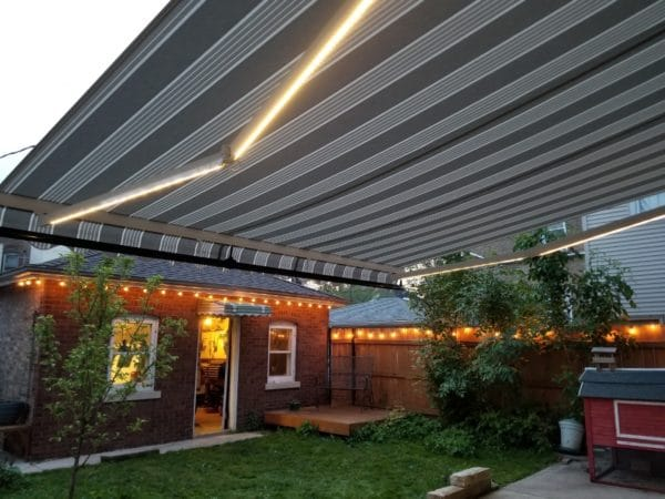 awning with LED lights
