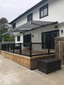 Black and White Retractable Awning