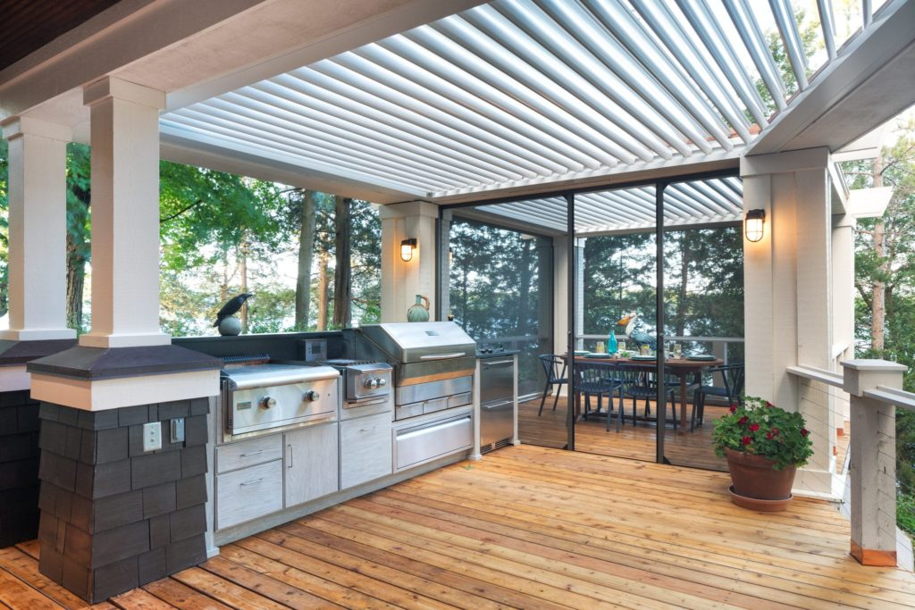 Louvered Roof Over Outdoor Kitchen