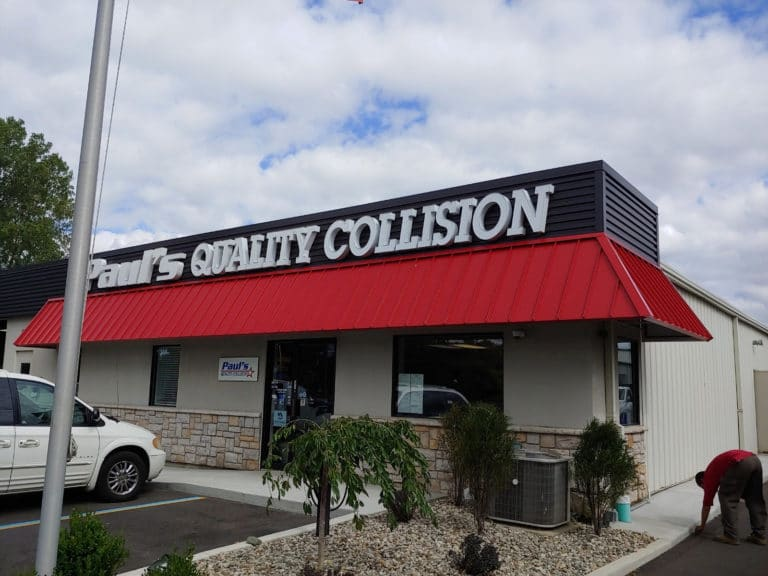 Awning signs for business - metal standing seam awning - Paul's Quality Collision - Marygrove Awnings