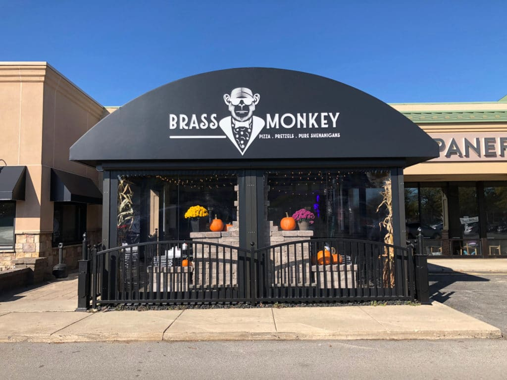Commercial awning companies - restaurant awning - Brass Monkey - Marygrove Awnings