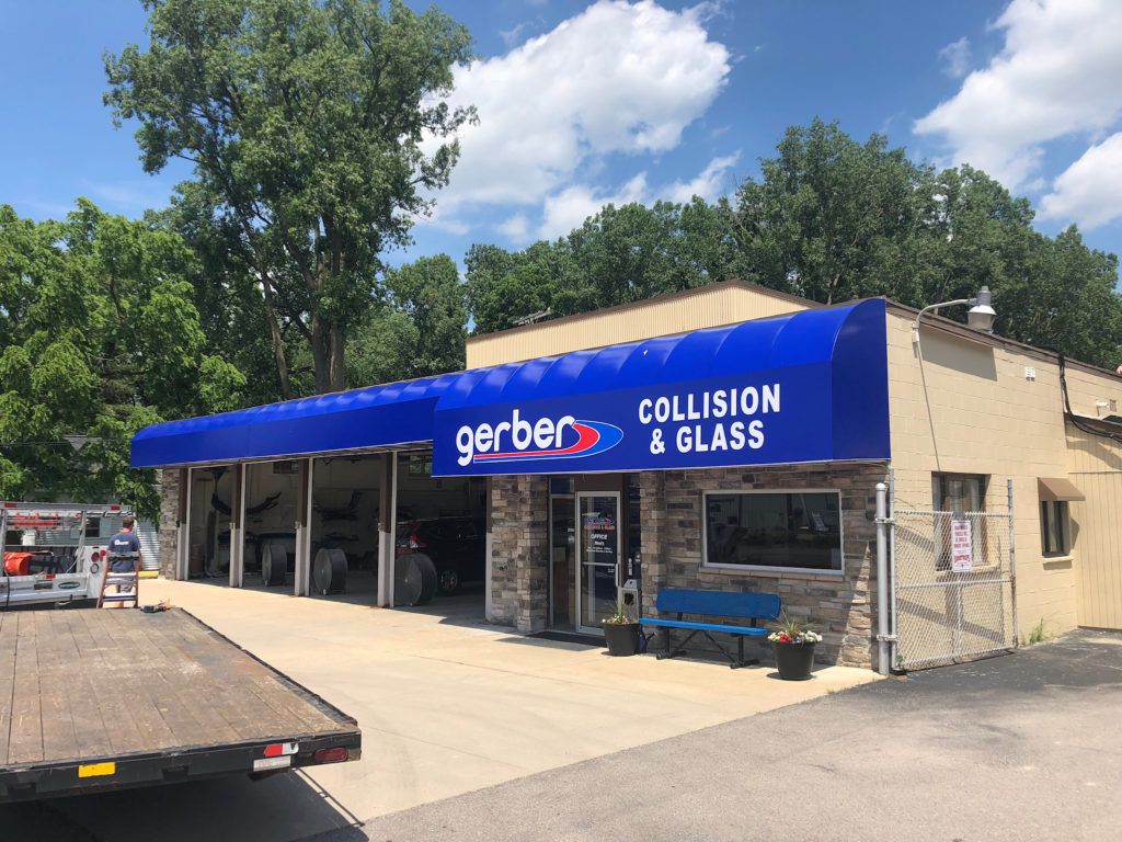 Awning signs for business - metal standing seam awning - Gerber Collision & Glass - Marygrove Awnings