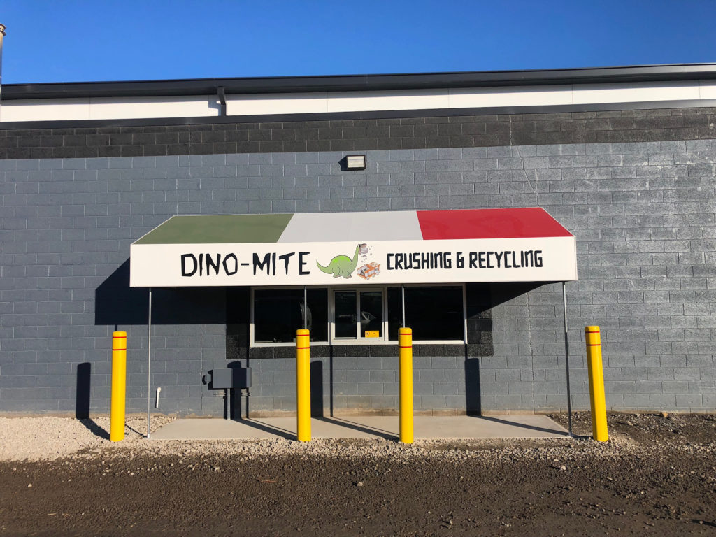 Commercial metal awnings - metal standing seam awning - Dino-Mite Crushing & Recycling - Marygrove Awnings