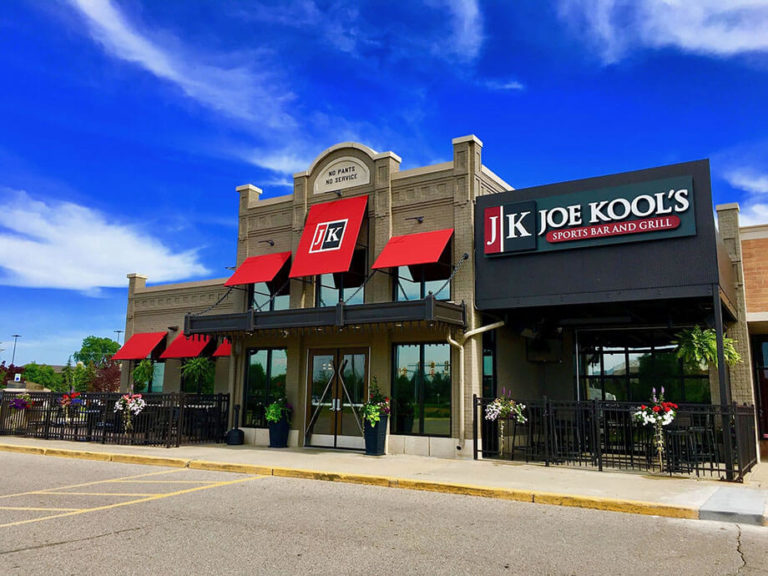 Commercial awning contractors - restaurant awnings - Joe Kool's - Marygrove Awnings