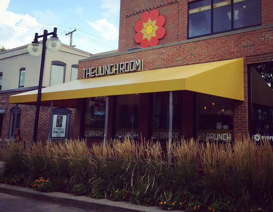 Commercial awning - The Lunchroom restaurant awning - Marygrove Awnings
