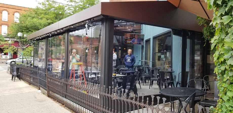 Custom commercial awnings - restaurant awning with solar screen - Marygrove Awnings
