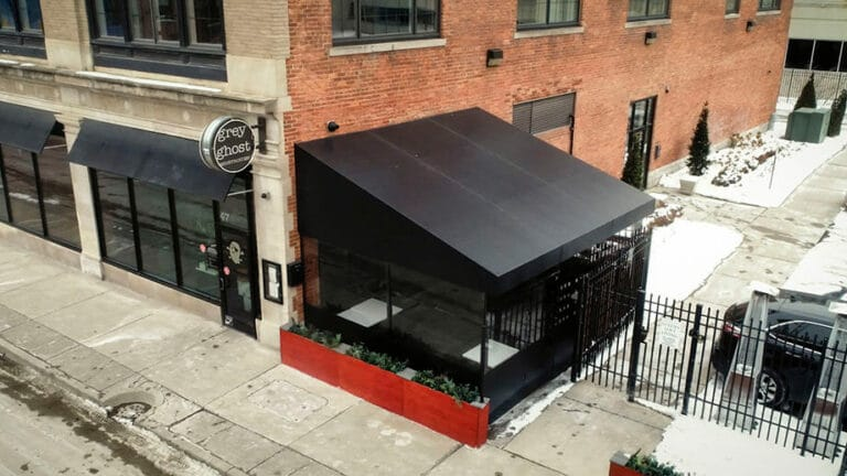 grey ghost restaurant outdoor awning detroit