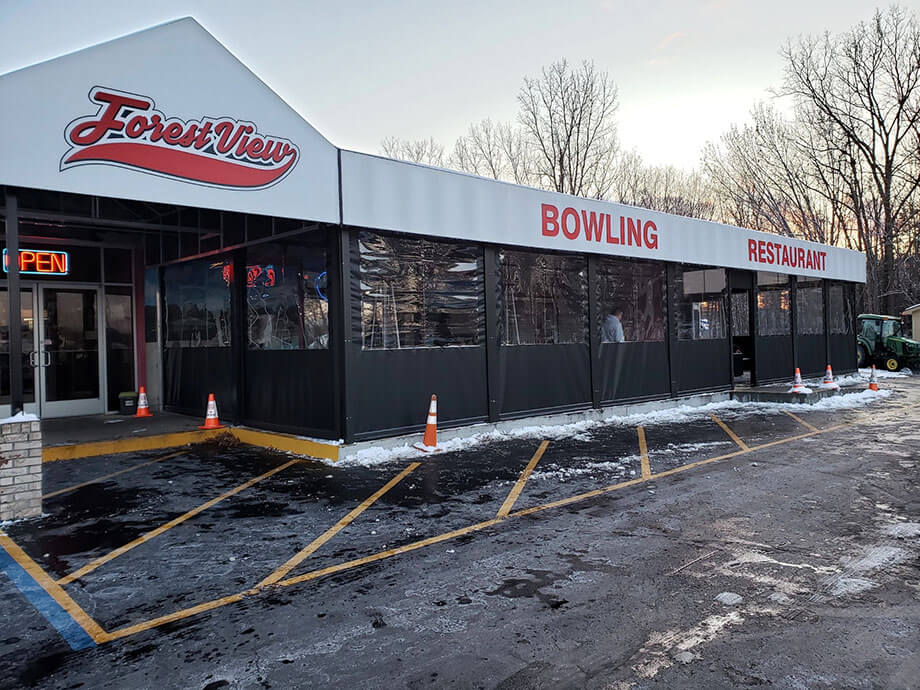 Storefront awning designs - Forest View bowling alley - Marygrove Awnings