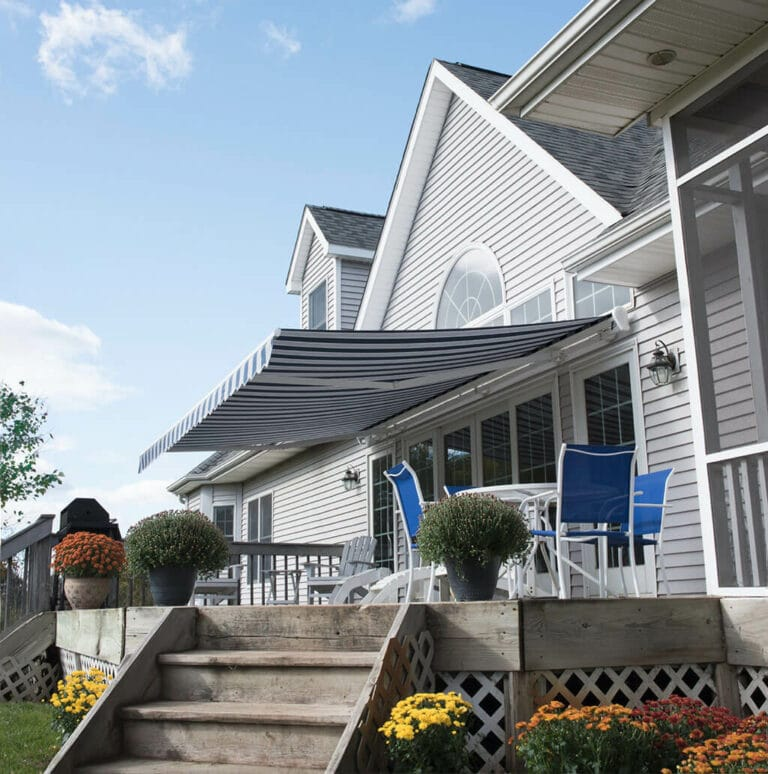 outside deck awning - blue and white striped - Marygrove Awnings