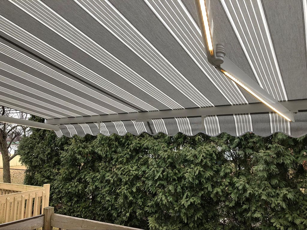 retractable gray awning - New Jersey residential awnings - Marygrove Awnings
