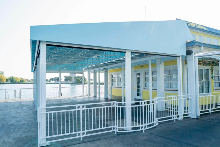 White metal commercial awning - Marygrove Awnings
