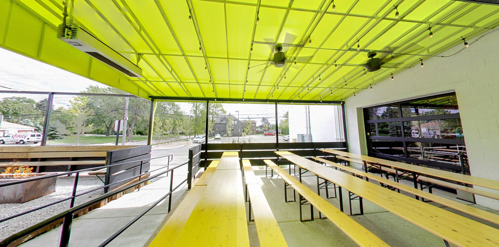 Yellow commercial awning - New Jersey - Marygrove Awnings