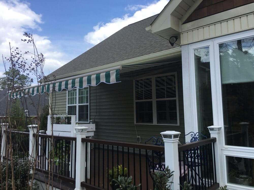 green striped awning - choosing the right awning fabric - Marygrove Awnings